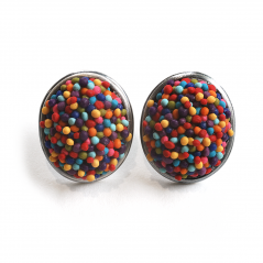 Button Earring (227), 2017, polymer & sterling