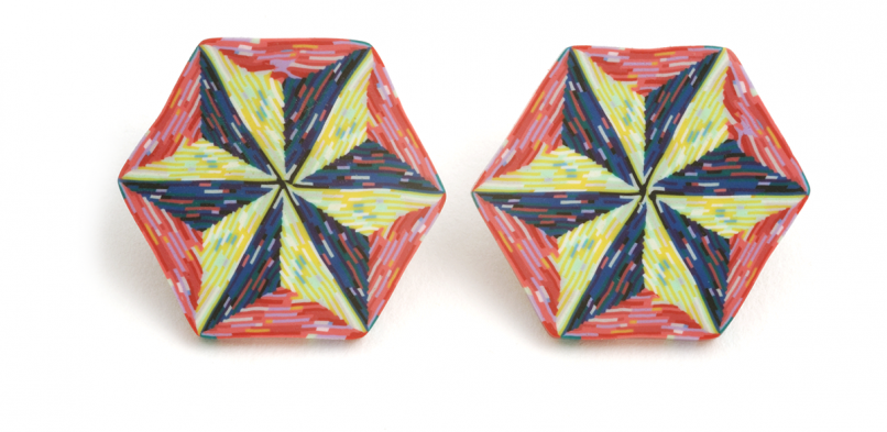Cane Earrings (038),1995, polymer