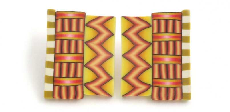 Cane Earrings (041),1996, polymer