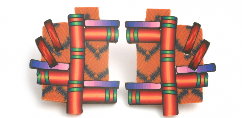 Cane Earrings (049),1998, polymer