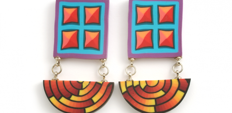 Cane Earrings (051),1993, polymer