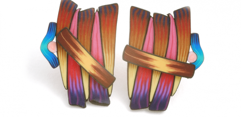 Cane Earrings (053),1998, polymer