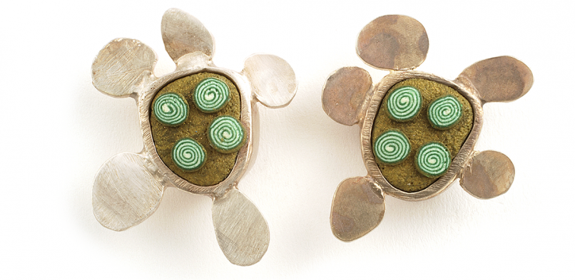 Pebble Earrings (002),2010, polymer & sterling