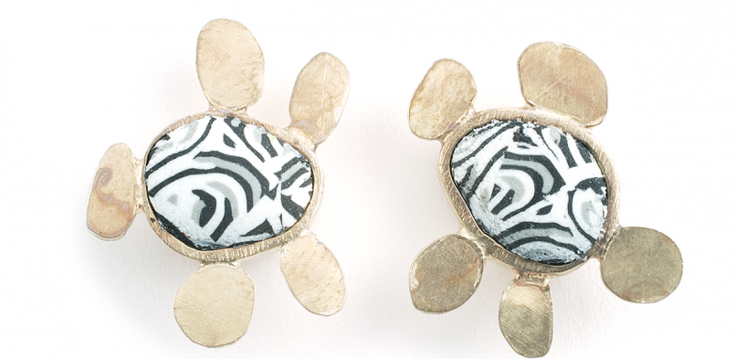 Pebble Earrings (003),2010, polymer & sterling